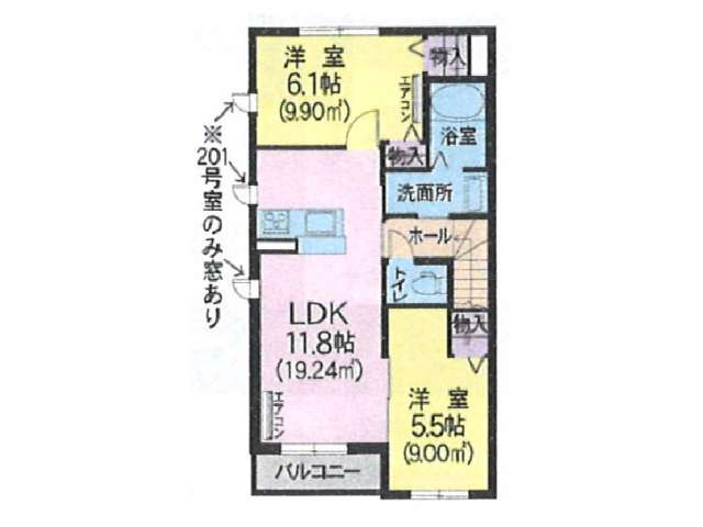 アパート 青森県 青森市 奥野1丁目 シャーメゾン ホワイトプレミアス 2LDK