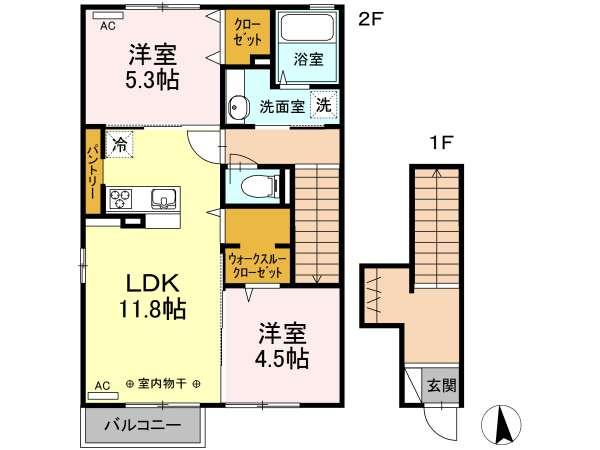 アパート 青森県 八戸市 湊高台3-14-20 ハイネス湊高台 2LDK