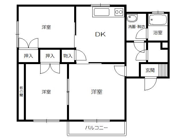 アパート 青森県 八戸市 南類家1丁目 ベストライフA棟 3DK