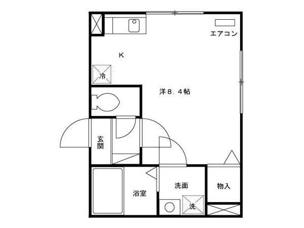 アパート 青森県 青森市 北金沢2丁目 ウィルモアZen 1K