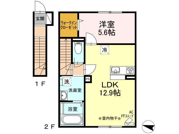 アパート 青森県 青森市 問屋町2丁目 プラセール妙見 1LDK