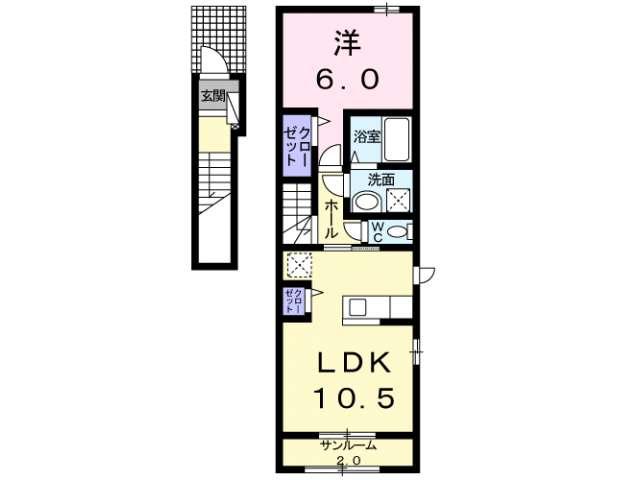 アパート 青森県 青森市 久須志3丁目 アイナ 1LDK