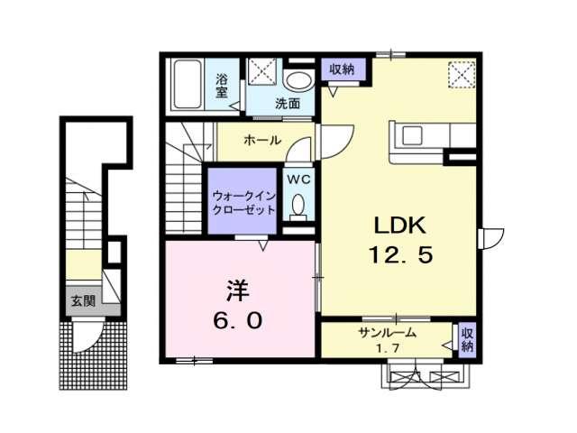 アパート 青森県 青森市 久須志3丁目 カエルムU 1LDK