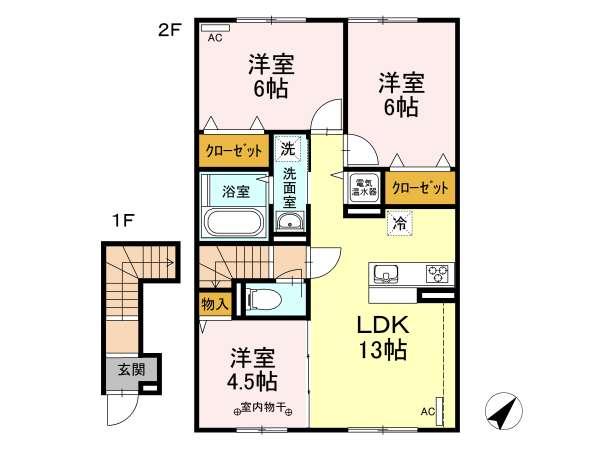 アパート 青森県 青森市 石江岡部 ジラソーレ 3LDK