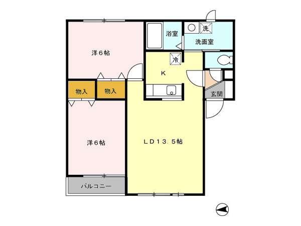 アパート 青森県 青森市 花園2丁目16- コーポラス・マロニエ 2LDK