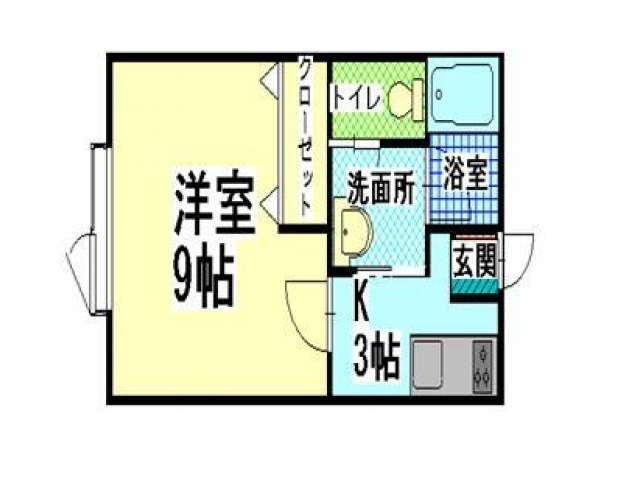 アパート 青森県 青森市 金沢1丁目1-14 ラフォーレ1 1K 画像2