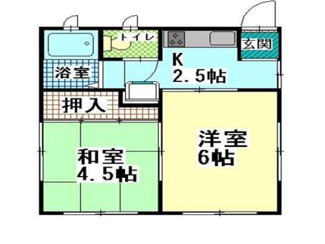 アパート 青森県 青森市 小柳5丁目14-10 ハイツホープ� 2K 画像2