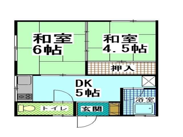 アパート 青森県 青森市 石江字平山2-451 立石アパート 2DK 画像2