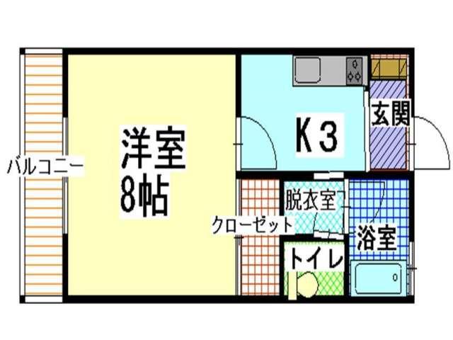 アパート 青森県 青森市 大野字若宮95-1 ハイツはらこ 1K 画像2