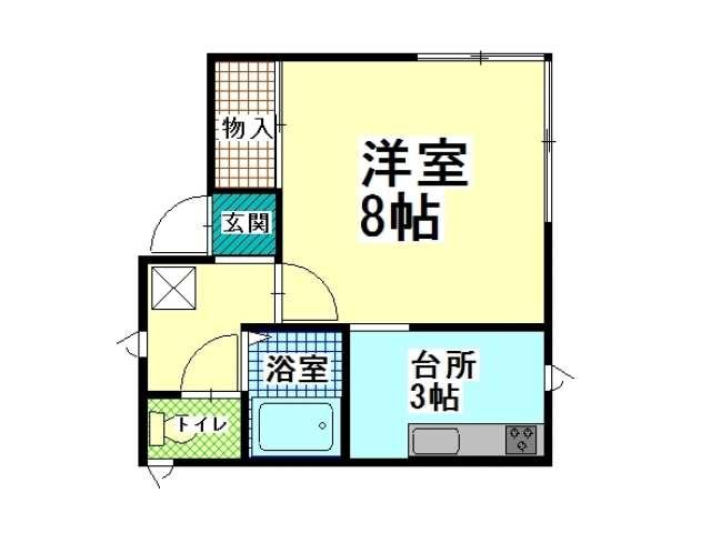 アパート 青森県 青森市 大野字若宮100-40 アップル・エステート大野若宮 1K 画像2