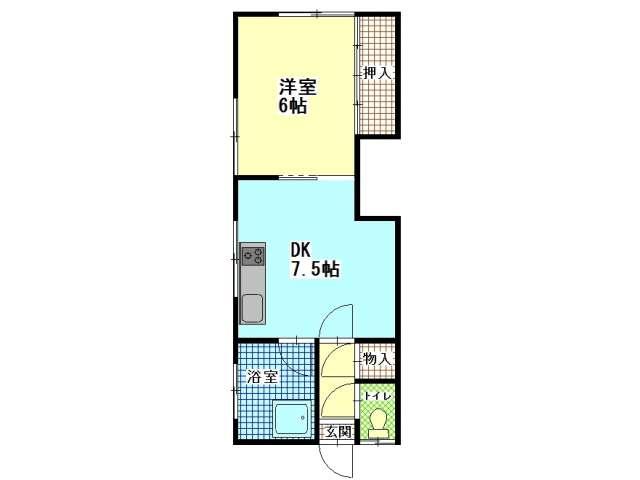 アパート 青森県 青森市 大野字若宮166-16 神山荘 1DK 画像2