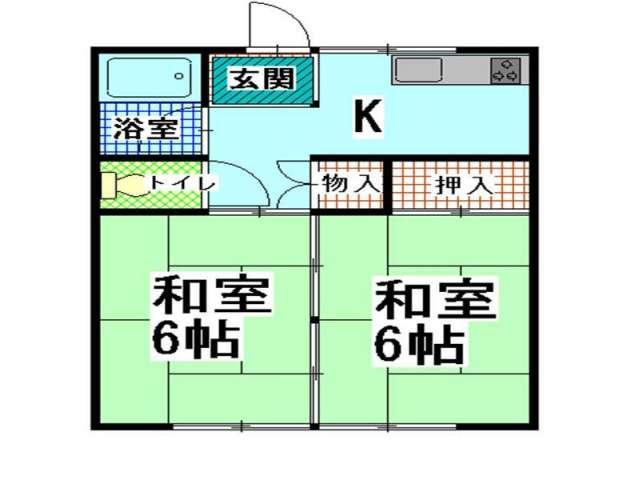 アパート 青森県 青森市 富田5丁目16-2 白樺ハイツ 2K 画像2