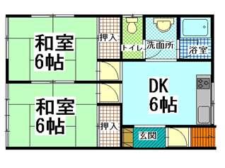 アパート 青森県 青森市 佃2丁目13-5 コーポわかば 2DK 画像2