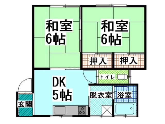 アパート 青森県 青森市 小柳5丁目14-10 ハイツホープ� 2DK 画像2