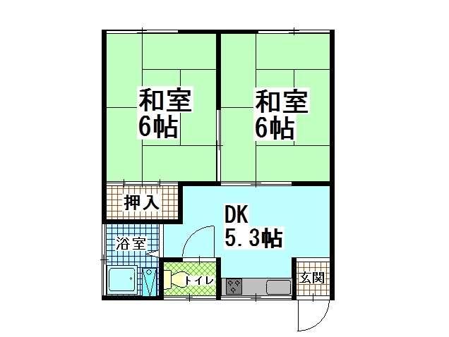 アパート 青森県 青森市 石江字江渡105-58 加藤アパート 2DK 画像2