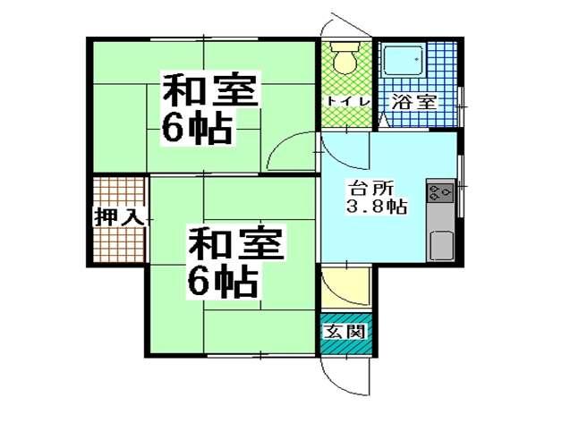 アパート 青森県 青森市 佃2丁目3-20 コーポつしま 2K 画像2