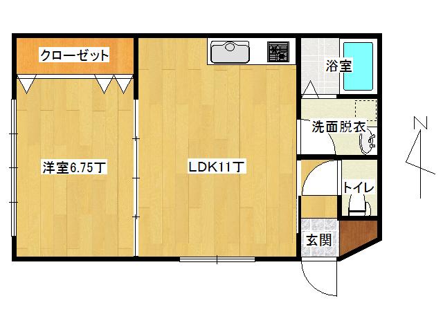 アパート 弘前市早稲田3丁目「ピュアハウスC」106号室 メイン画像