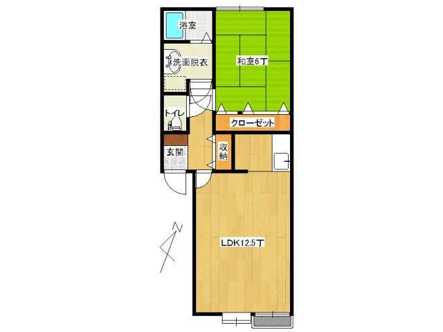 アパート 弘前市境関1丁目「コーポラスユアフルB棟」102号室 メイン画像
