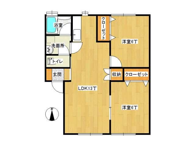 アパート 弘前市田園3丁目「リトルブランチ」2-B号室 メイン画像