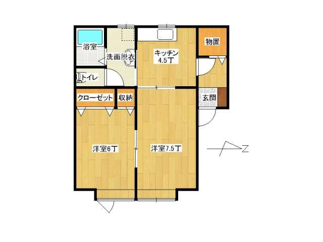 アパート 弘前市城東1丁目「ピアチェーレ・ドゥエ」201号室 メイン画像