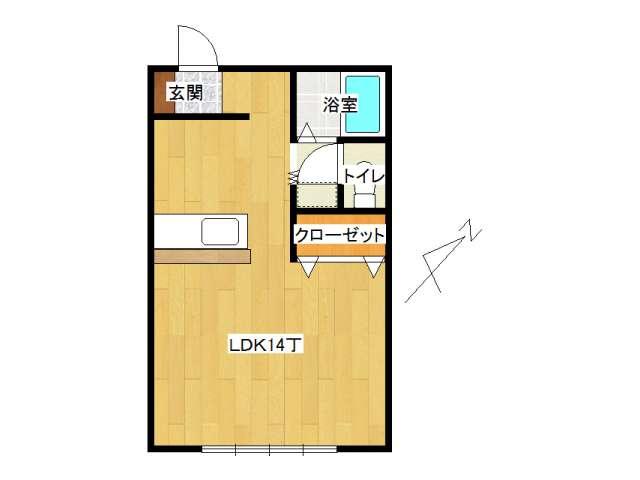 アパート 南津軽郡藤崎町藤崎字村井「コーポよなが」206号室 メイン画像