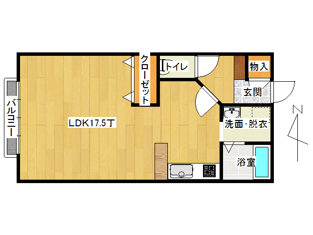 アパート 弘前市境関1丁目「おしゃれはうす3」A302号室 メイン画像
