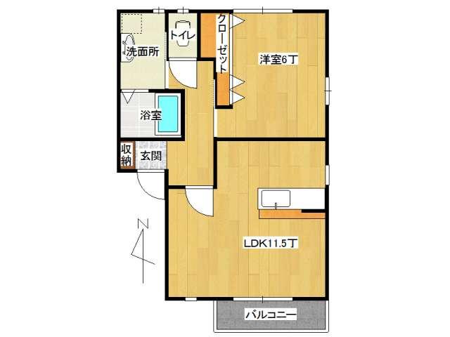 アパート 弘前市田園1丁目「ポラリス」202号室 メイン画像