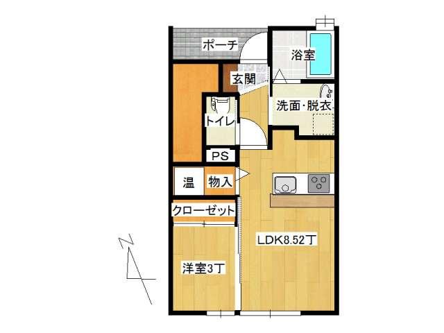 アパート 弘前市田園1丁目「サン・フレッシュ」105号室 メイン画像