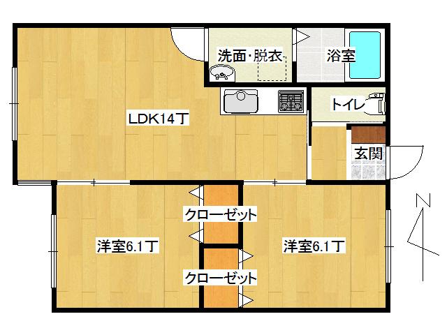 アパート 弘前市早稲田3丁目「エステート・パレ・わせだ」202号室 メイン画像