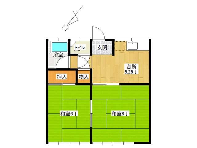 アパート 弘前市宮園5丁目「コーポ木伏」201号室 メイン画像