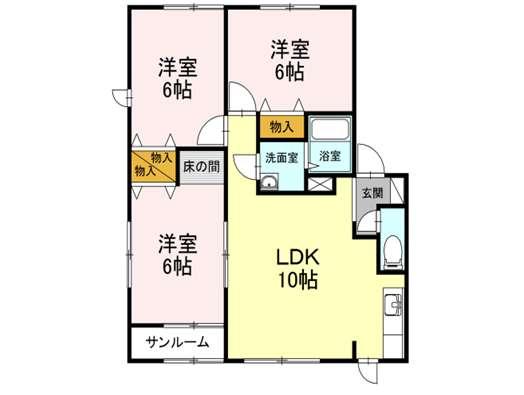 アパート 青森市浜館4丁目 ラフィーネ 3LDK