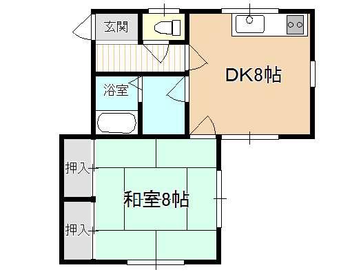 アパート 青森市桂木1丁目 コーポ昴 1DK