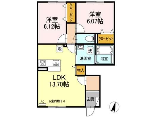 アパート 青森市浜田玉川 (仮)Droom浜田 2LDK