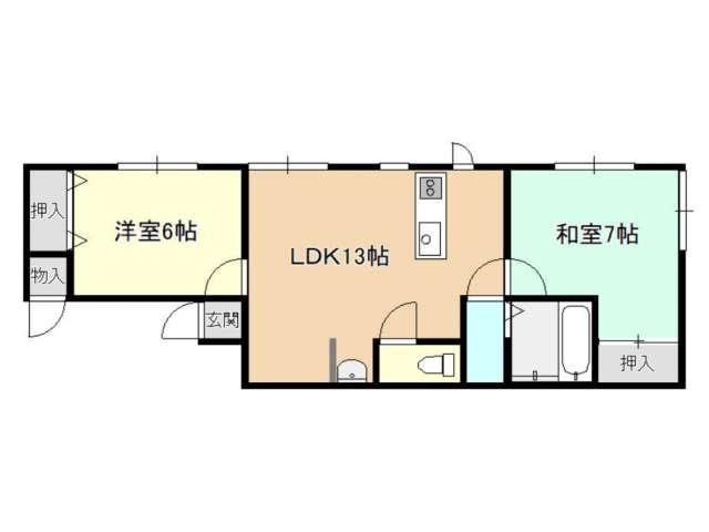 アパート 青森市奥野2丁目 浜K 2LDK