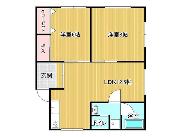 アパート 青森市金沢2丁目 ラ・フェニーチェ 2LDK