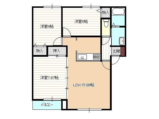 アパート 青森県 青森市 緑1丁目1-8 ハイセレールグリーン 3LDK
