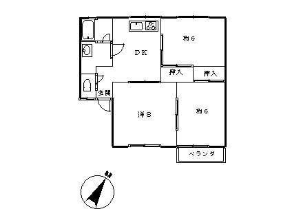 アパート 青森県 八戸市 江陽5丁目 ジョイフルハイツ 3DK