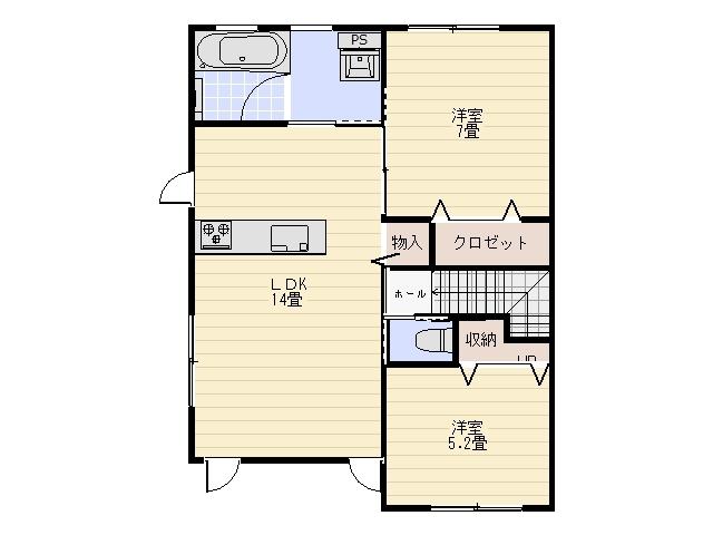 アパート 五所川原市中央5丁目127 グランポーロウニアⅢ 2LDK