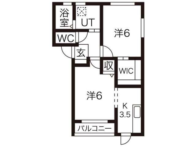 アパート 岩手県 胆沢郡金ケ崎町 西根西地蔵野 ラ・ヴィータA 2K