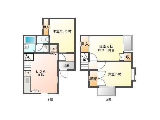 テラスハウス 秋田県 秋田市 広面字糠塚 シティパレス21(メゾネット) 3LDK