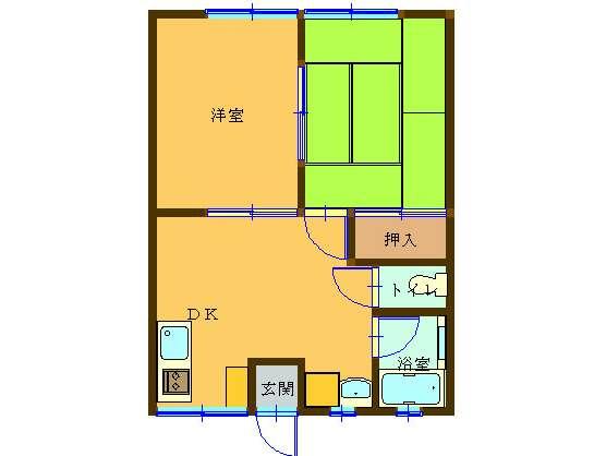 アパート 秋田県 湯沢市 元清水1丁目 コーポタカハシⅡ 2DK