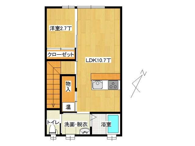 アパート 弘前市早稲田3丁目「アップルメゾン」203号室 メイン画像