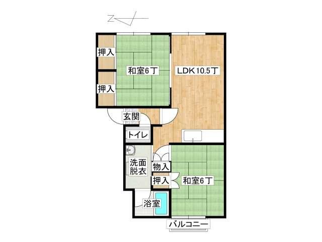 アパート 弘前市末広2丁目「メゾン・アヴニール A棟」202号室 メイン画像