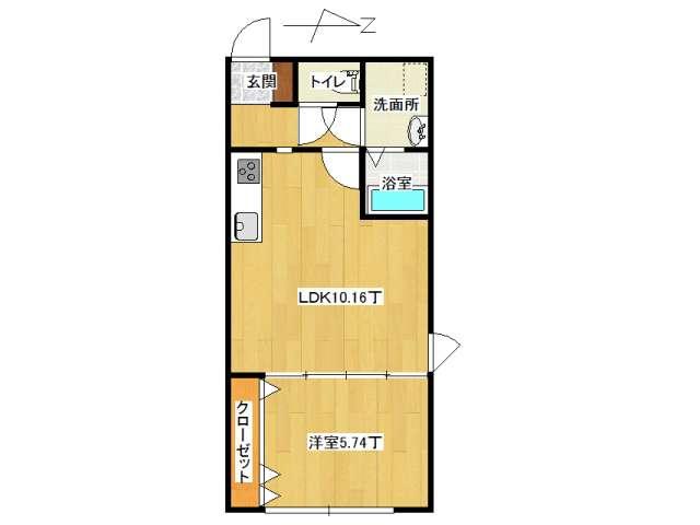 アパート 弘前市山王町「ピュアハウス山王B棟」206号室 メイン画像