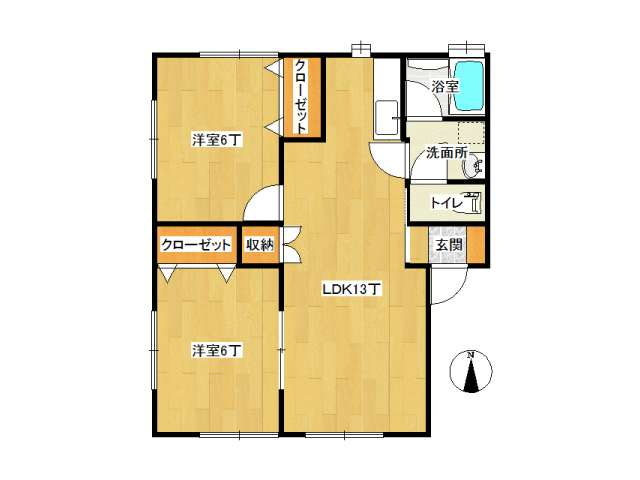 アパート 弘前市田園3丁目「リトル・ブランチ」2-A号室 メイン画像
