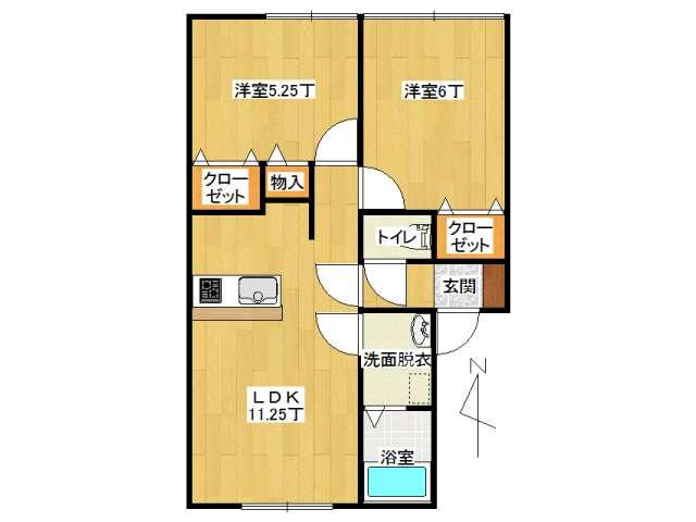 アパート 弘前市山王町「ピュアハウス山王A棟」102号室 メイン画像