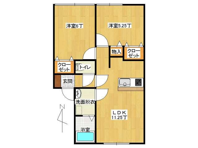 アパート 弘前市山王町「ピュアハウス山王A棟」201号室 メイン画像