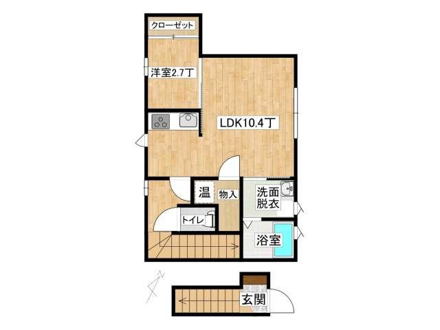 アパート 弘前市早稲田3丁目「アップルメゾン」201号室 メイン画像