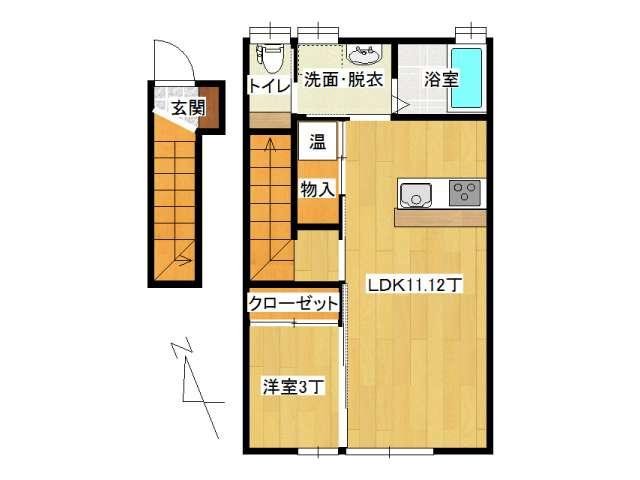 アパート 弘前市田園1丁目「サン・フレッシュ」203号室 メイン画像