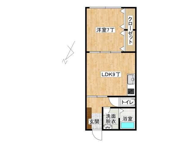 アパート 弘前市外崎1丁目「メゾン・オーク」205号室 メイン画像